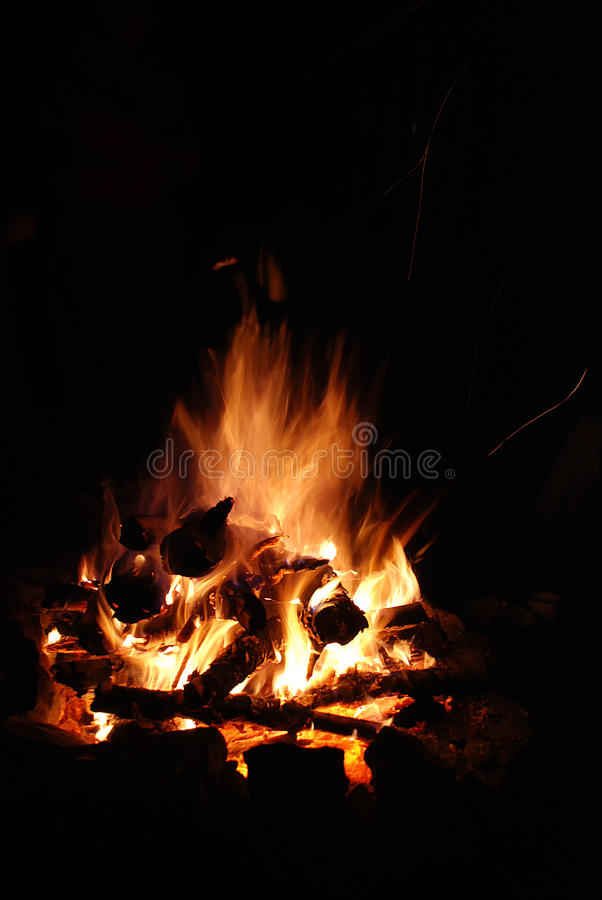 Burning logs night orange bonfire stock image