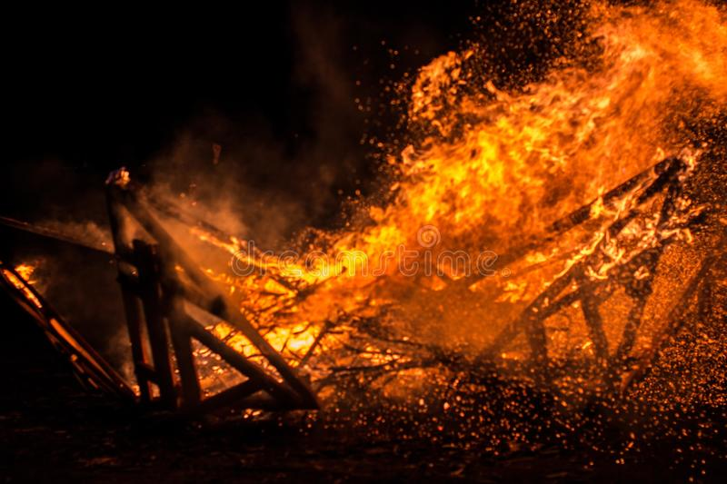Hot burning embers burned down structure stock photo