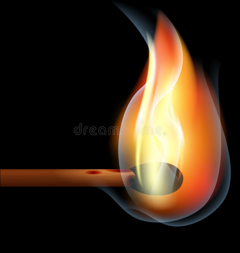 Download Burning match stock vector. Illustration of fire, large - 19835439
