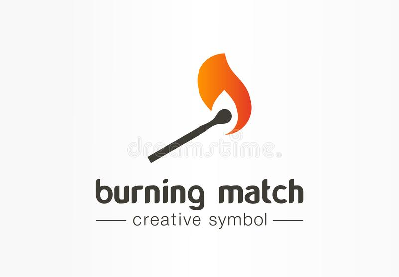 Burning match creative fire symbol concept. Danger power flame torch abstract business logo. Damage energy in flammable stock illustration