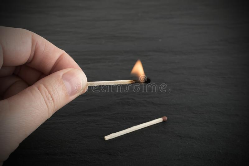 Burning Match and Matches House. Burning Match and Flammable Matches House for Fire Insurance Illustration stock images