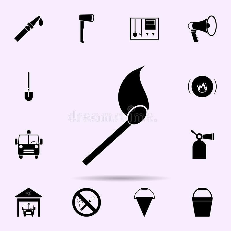 Burning match icon. Fireman icons universal set for web and mobile. On color background stock illustration
