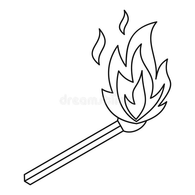 Burning match icon, outline style vector illustration
