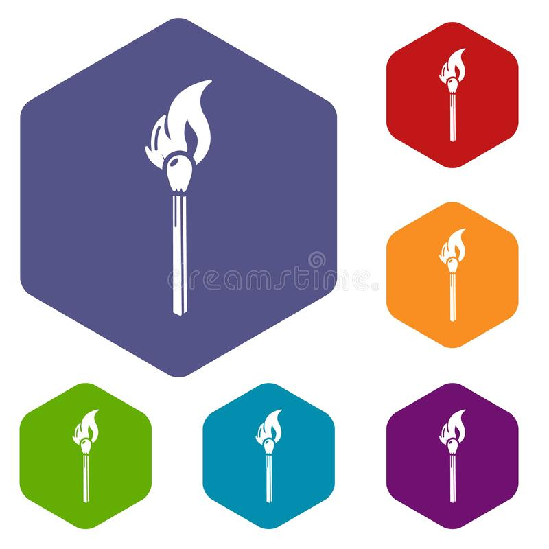 Burning match icon, simple black style vector illustration
