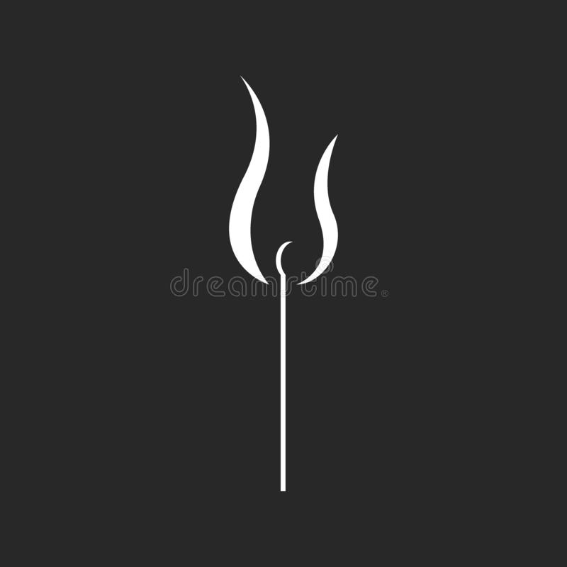 Burning match illustration in minimalist style, black and white print for t-shirt or fire hipster safety poster royalty free illustration