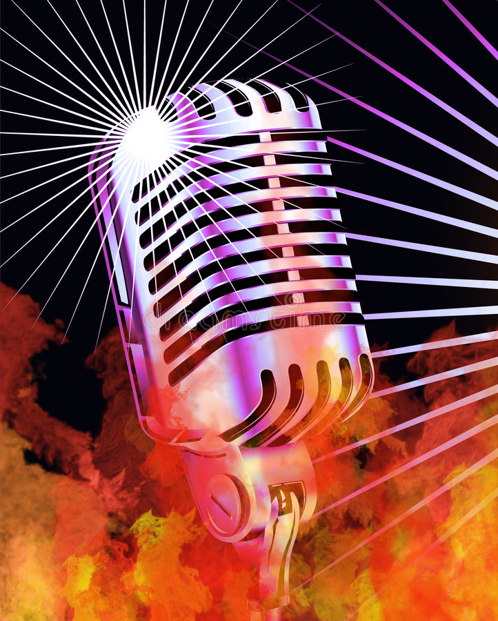 Burning Microphone. True Flames and Retro Microphone vector illustration