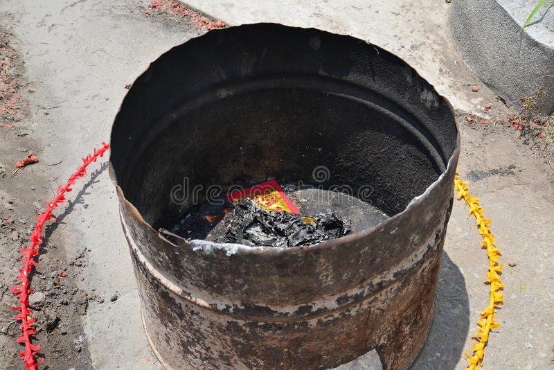 Burning money Ghost for Chinese Ghost royalty free stock images