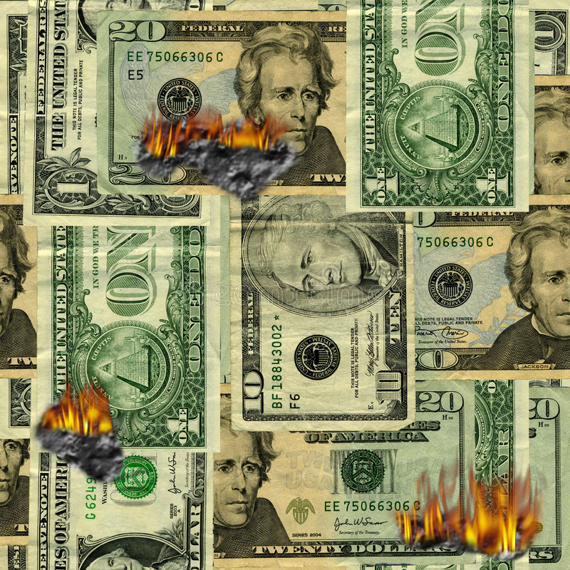 Burning money pattern. Seamlessly repeatable burning money pattern royalty free stock images