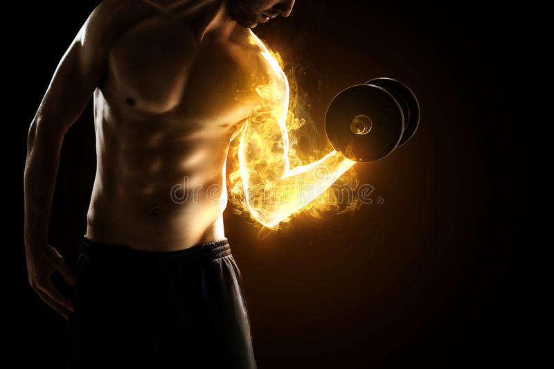 Burning Muscles. Body builder with burning Muscles royalty free stock photo