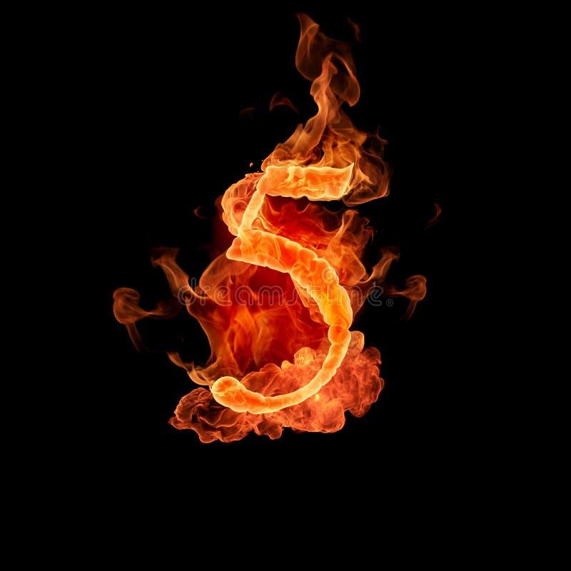 Burning number 5 royalty free stock photos