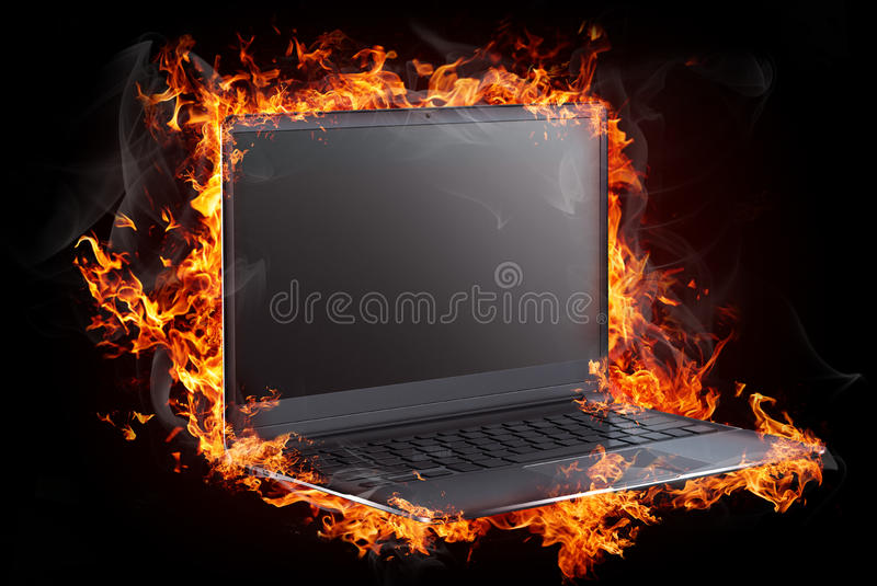 Burning objects and objects on fire background stock illustration