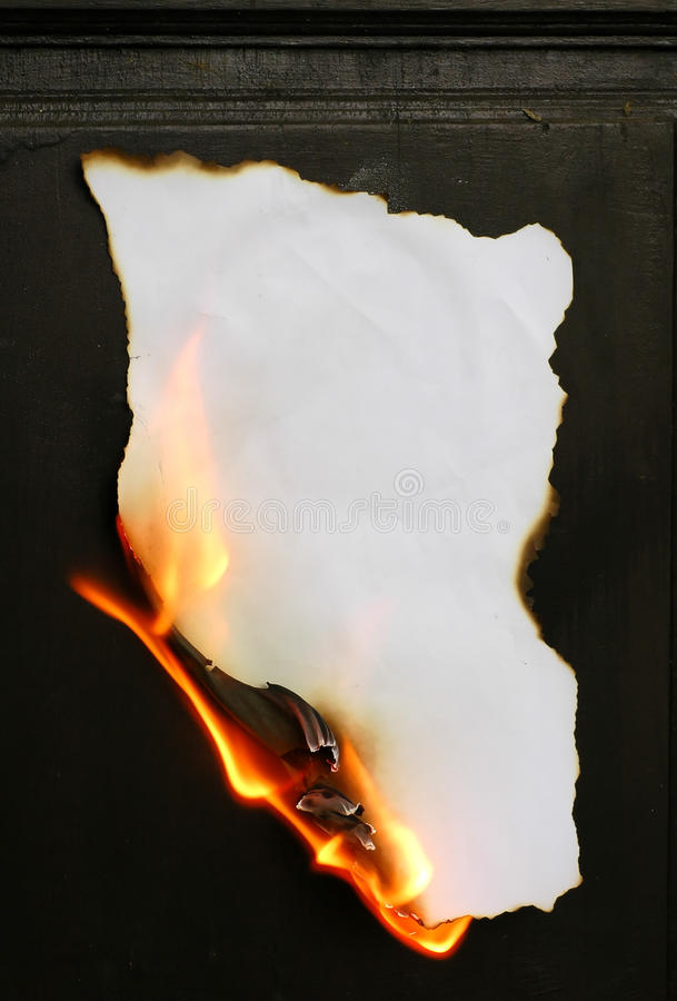 Burning Paper Stock Photo Image Of Fiery Aged Frame
