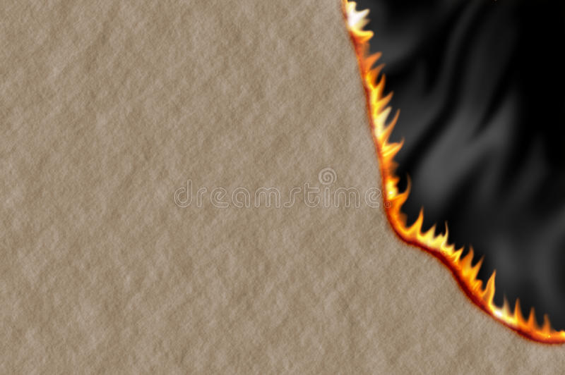 Burning Paper. Bown Paper With Flames Burning Along The Edge vector illustration