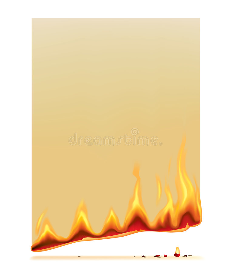Burning paper. Raster version of vector burning paper There is in addition a vector format (EPS 8 royalty free illustration