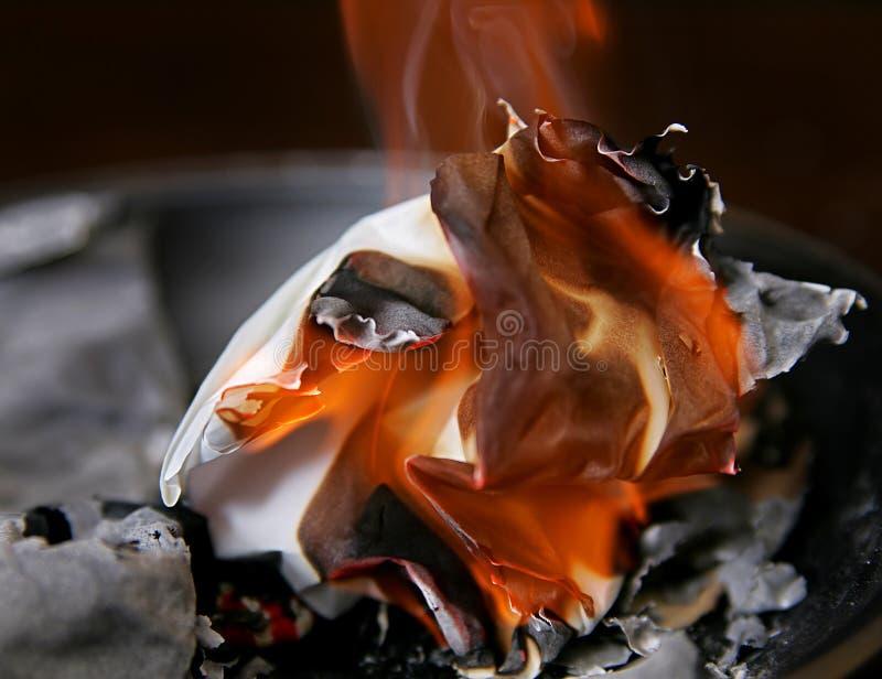 Burning paper ash royalty free stock photos