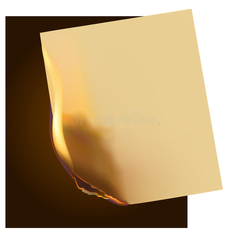 Burning paper. Dark background with a burning piece of paper royalty free illustration