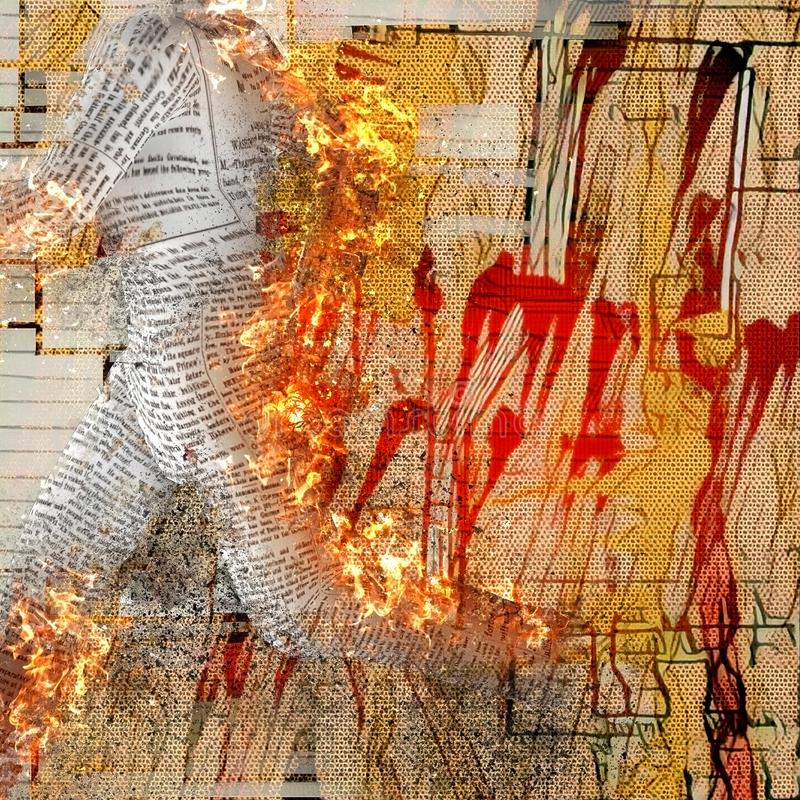Burning paper man. Abstraction. Burning figure of paper man. Stains and brush strokes at the background vector illustration