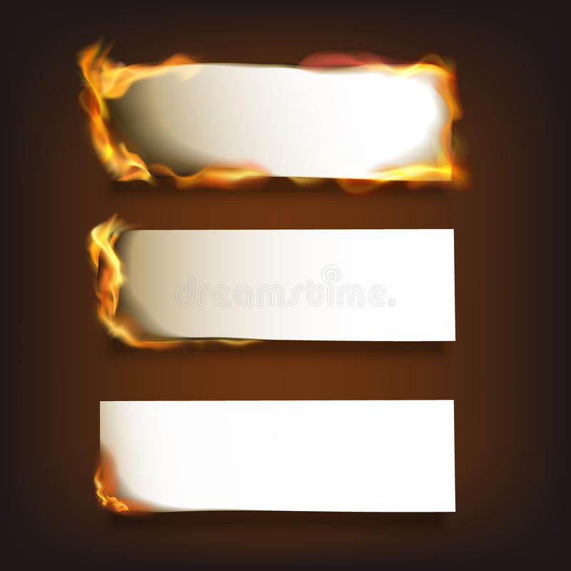 Burning Paper Set. Burning blank paper sheets set with various degree of ignition on black background isolated vector illustration stock illustration