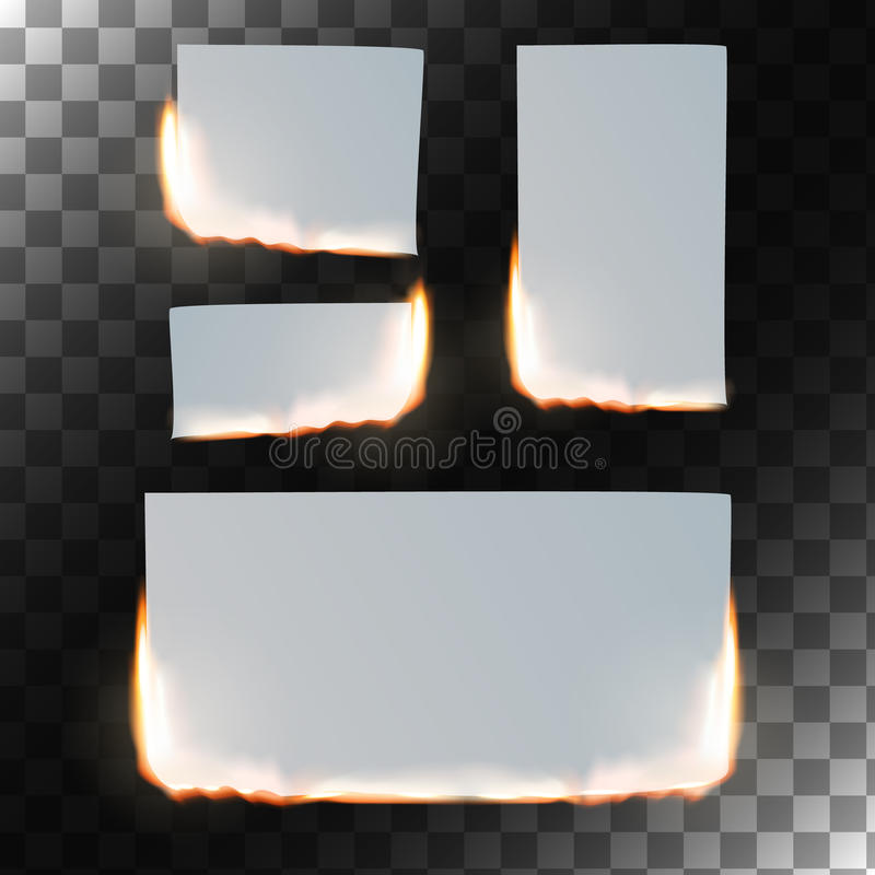 Burning paper set. Vector illustration. Burning paper set. Sheet of paper in flame on transparent background. Rectangular and square shapes. Vector illustration stock illustration