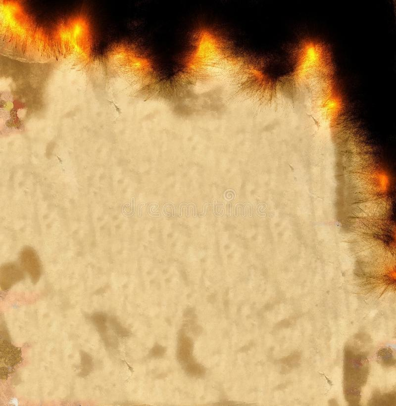 Burning Parchment Paper Background. Digitally painted illustration of antique parchment paper that is burning away around the edge vector illustration