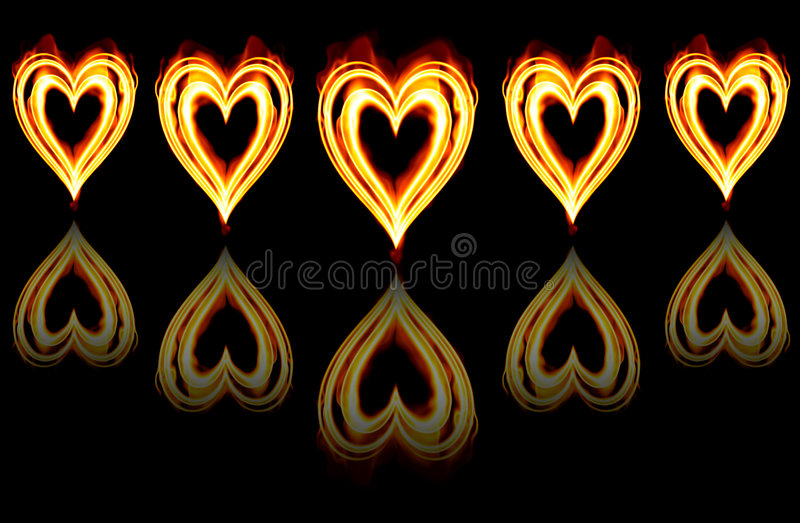 Download Burning Passion Hearts On Fire Royalty Free Stock Photography - Image: 3873917