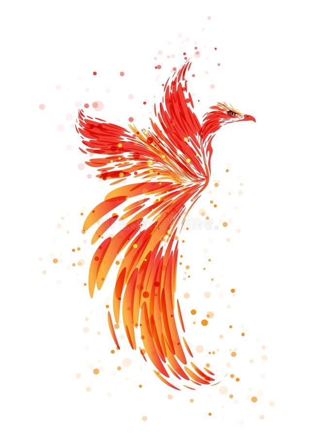 Burning Phoenix on white stock illustration