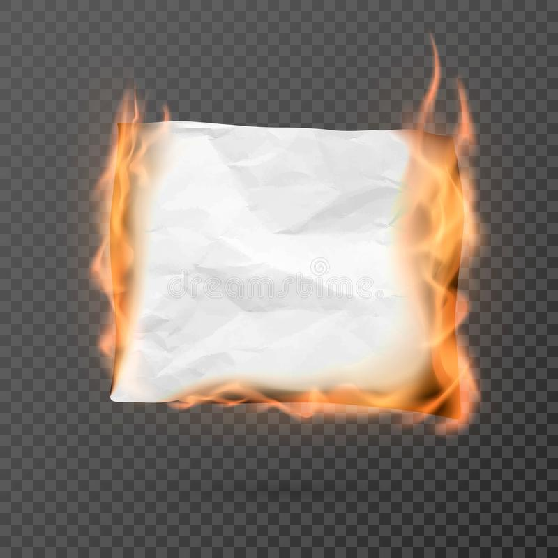 Burning piece of crumpled paper with copy space. crumpled paper blank. Creased paper texture in fire. Vector. Illustration isolated on transparent background royalty free illustration