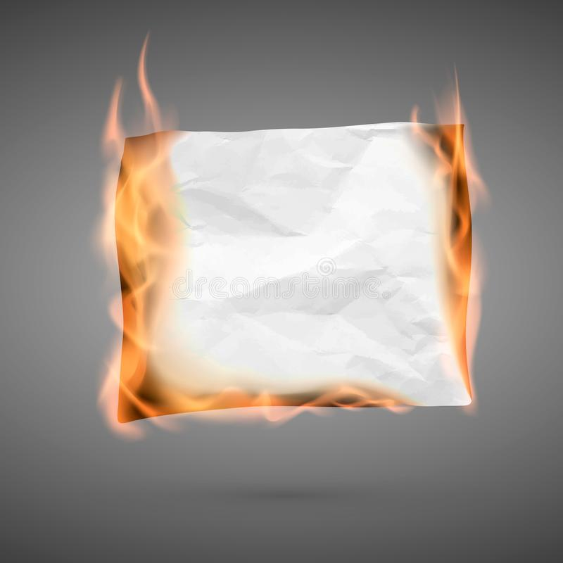 Burning piece of crumpled paper with copy space. crumpled paper blank. Crumpled paper texture in fire. Vector. Illustration isolated on dark background stock illustration