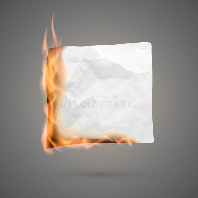 Burning piece of crumpled paper. crumpled empty paper blank for banner. Creased paper texture in fire. Vector. Illustration isolated on dark background royalty free illustration