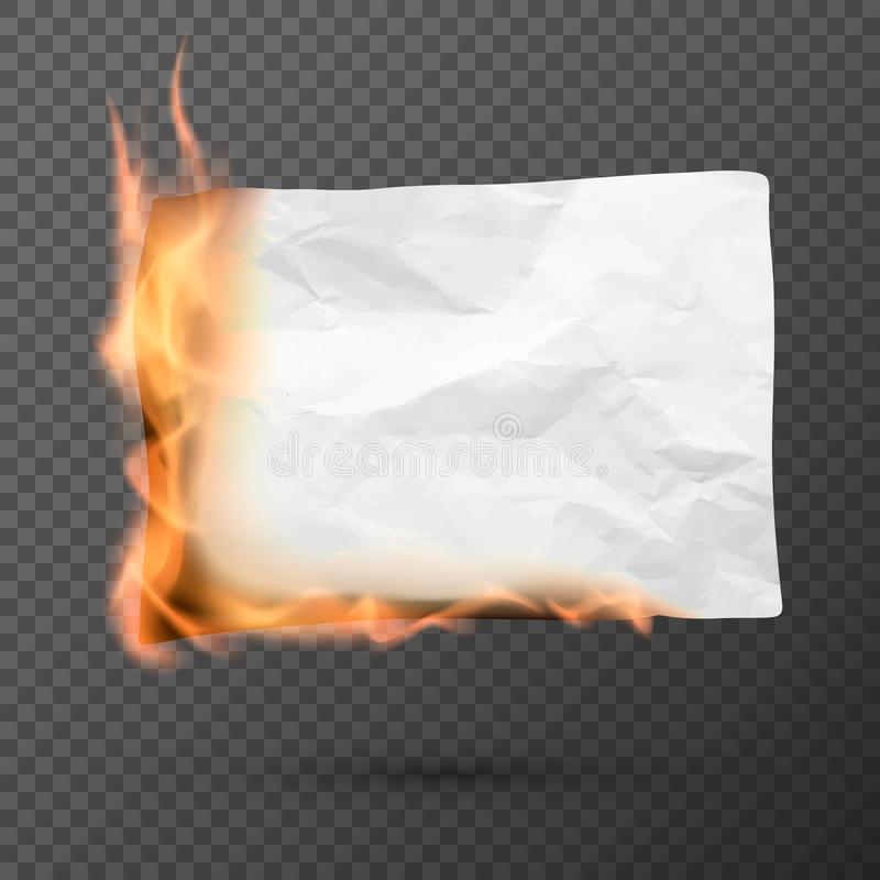Burning piece of crumpled paper. crumpled empty paper blank. Creased paper texture in fire. Vector. Illustration isolated on transparent background stock illustration
