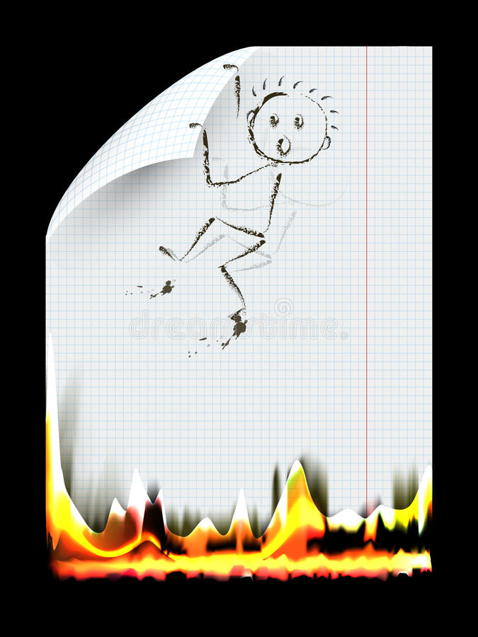Burning a piece of paper vector illustration