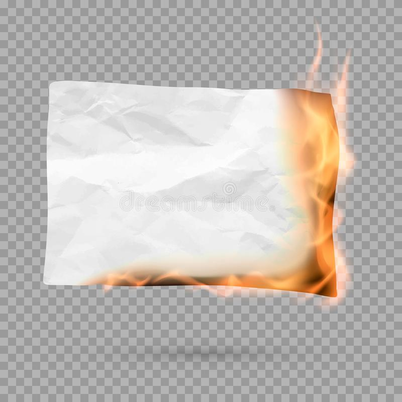 Burning piece of paper with copy space. crumpled paper blank. Vector. Illustration isolated on transparent background vector illustration