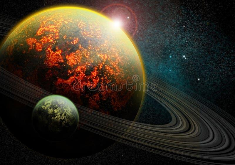 burning planet royaltyfri illustrationer