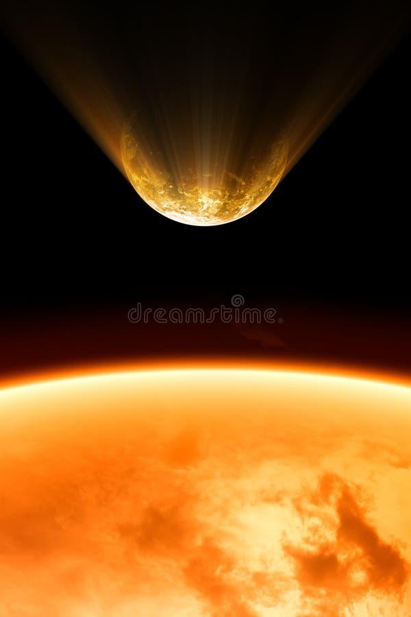 burning planet stock illustrationer