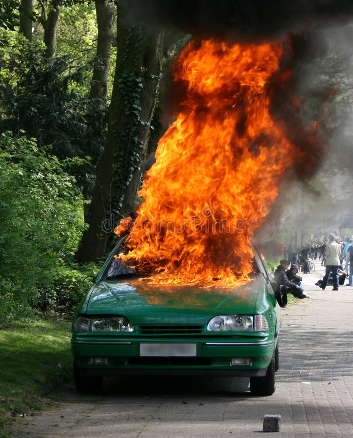 Burning Police Car stock images