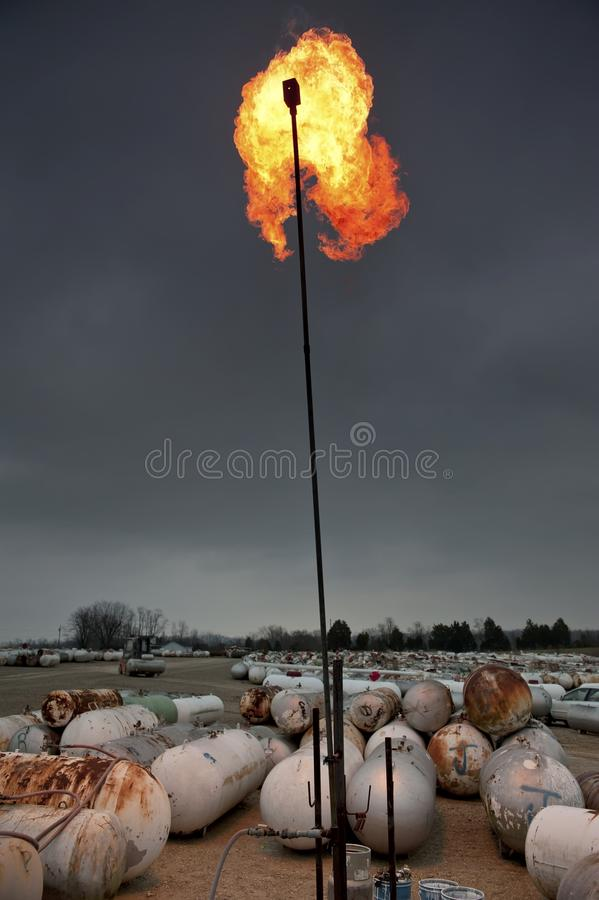 Download Burning propane gas tanks stock image. Image of disposing - 23052883