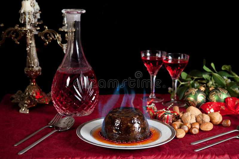 Burning pudding royalty free stock photos
