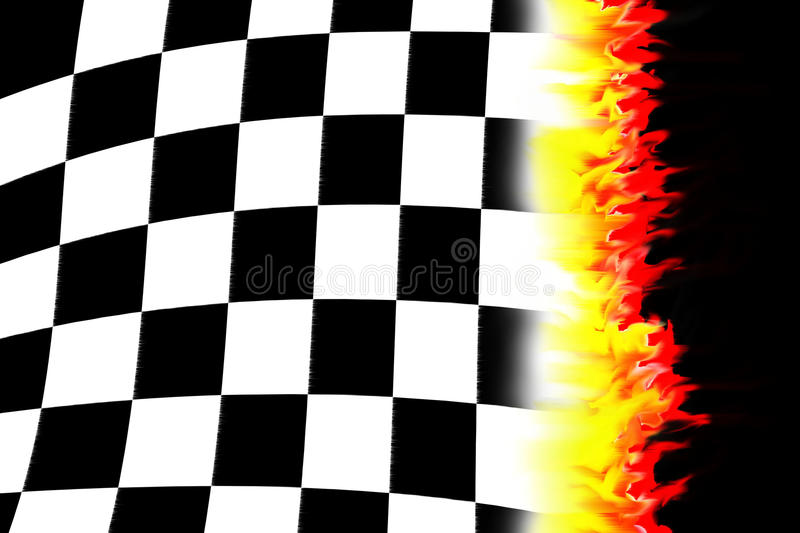 Burning racing flag royalty free illustration
