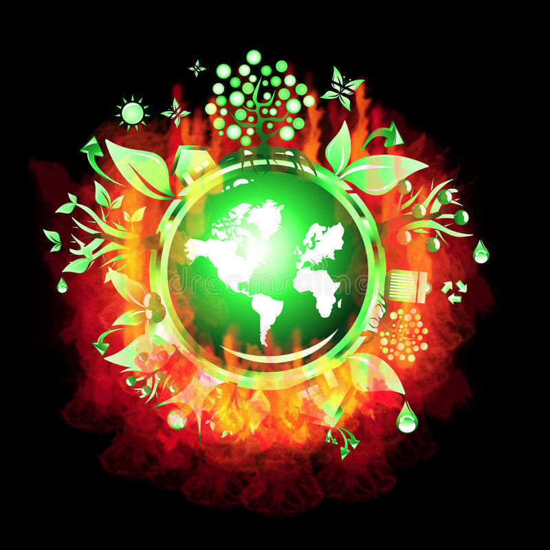 Burning Recycle world royalty free stock photo