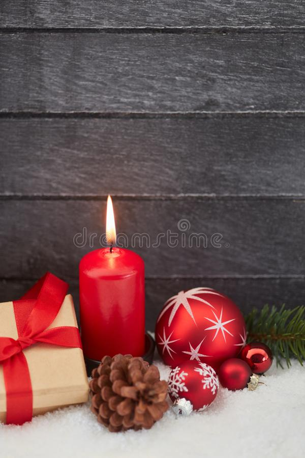 Burning red candle for advent. Burning red candle for christmas advent background royalty free stock photos