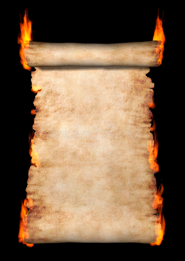 Burning Roll Of Parchment royalty free illustration