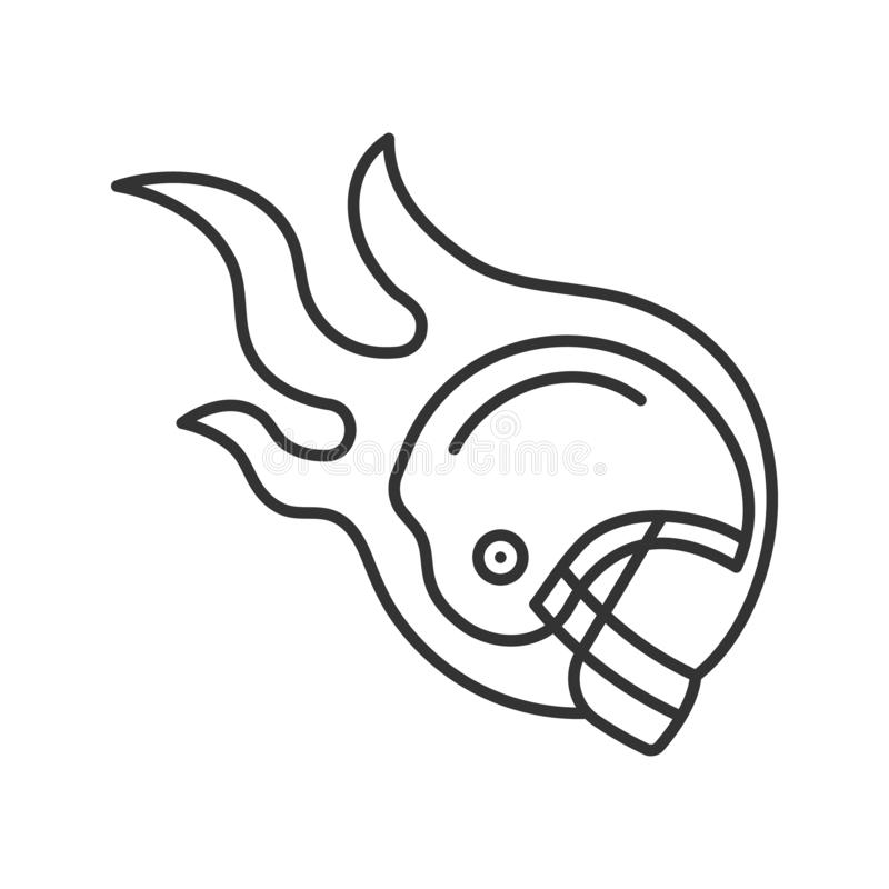 Burning rugby player`s helmet linear icon vector illustration