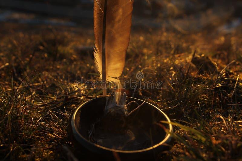 Burning Sage. Eagle leaf and burning sage at sunset stock photos