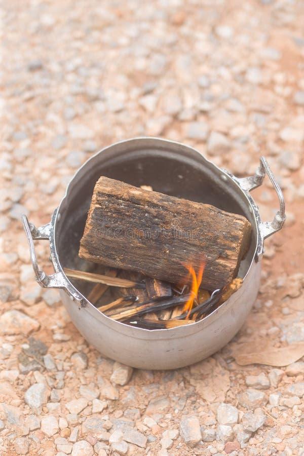 Burning Sandalwood using smoke for pray to chinese god stock photography