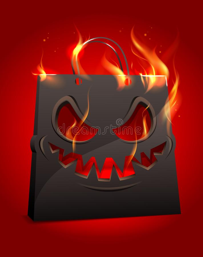 Burning scary black paper bag. Halloween sale vector poster concept stock illustration