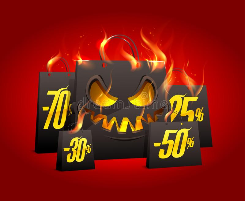 Burning scary black paper bags with percents discounts. Halloween sale vector poster vector illustration