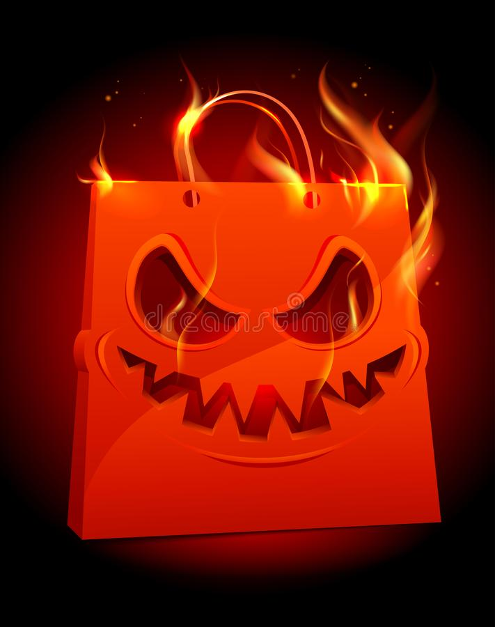 Burning scary red paper bag. Halloween sale vector poster concept stock illustration