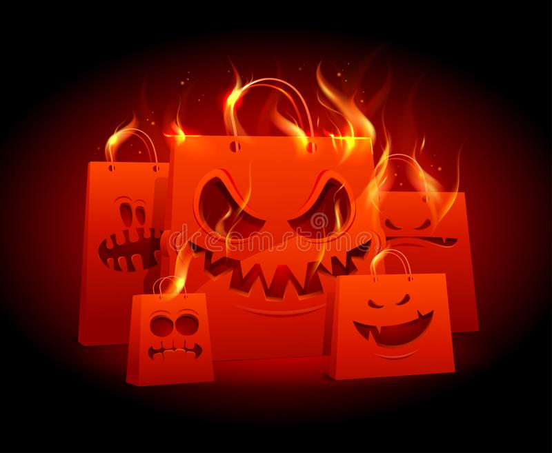 Burning scary red paper bags. Burning evil red paper bags, halloween sale banner design stock illustration