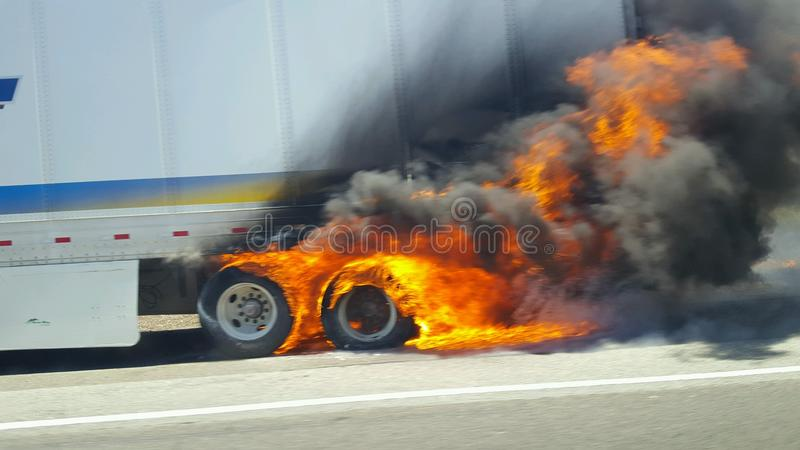 Burning semi-truck trailer royalty free stock photos