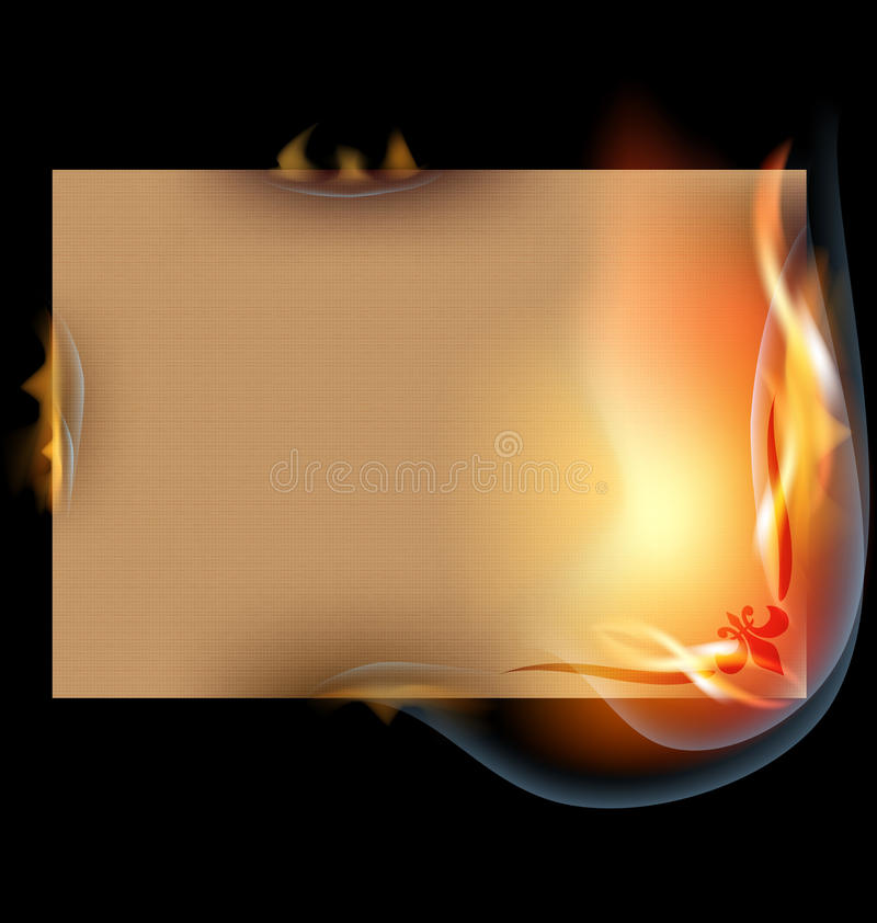Burning sheet of paper. On a black background is the burning old paper stock illustration